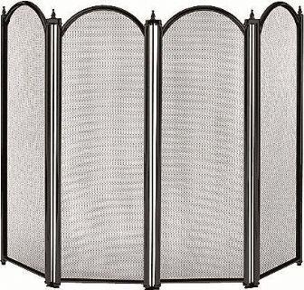 Dynasty 4 panel firescreen in black
